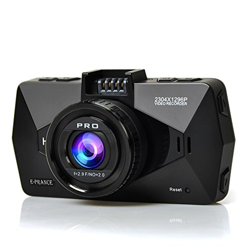 E-PRANCE EP503 Full HD 2304*1296P Car Camera Recorder 170 Degree Wide Angle Lens WDR Night Version G-Sensor HDMI 16GB Card Included