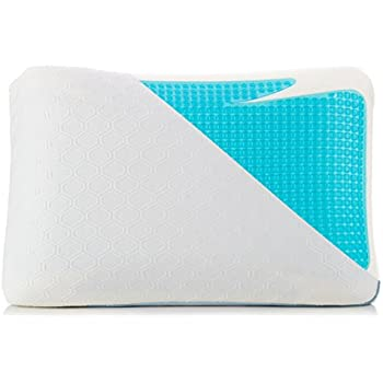 Cooling Pillow – Blue Gel Memory Foam Bed Pillows for Sleeping Cool – Includes High Tech Hypoallergenic Heat Dispersing Fabric Cooling Pillow Protector Cover with Zipper and Unique Ergonomic Design