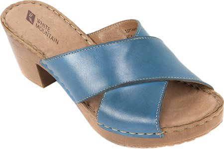 White White Mountain Mountain Moon Womens Leather Moon Sandal Blue Blue Womens Sandal XqaX7rw