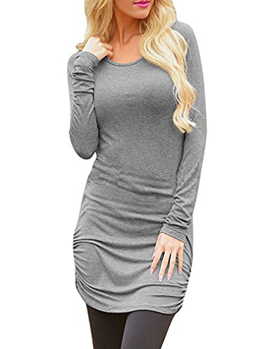 T Long Slim Sleeve Womens Tunic Top Casual Fit Sherosa Gray Dress Shirt Basic Uw04ZqqO
