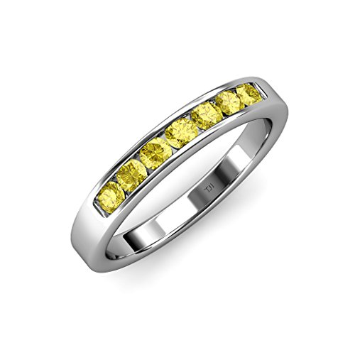Yellow-Sapphire-7-Stone-Channel-Set-Wedding-Band-074-ct-tw-in-14K-White-Gold