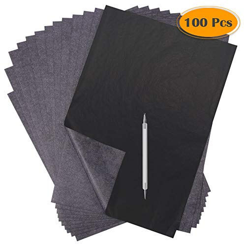 - Selizo 100 Sheets Carbon Transfer Tracing Paper Black Copy Graphite Graphic Paper and Embossing Tracing Stylus for Wood Burning Carving, Paper, Canvas