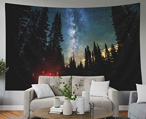 Capsceoll Father Gift Wall Hanging Tapestry, Large 80x60 Inches Size of Tapestries by Family Camping Under The Milky Way in Rocky Mountains Colorado USA Dorm Décor Tapestry for Living Home