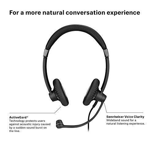 Sennheiser SC 75 (507085) - Double-Sided Business Headset | For Mobile Phone and Tablet | with HD Sound & Noise-Cancelling Microphone (Black) by Sennheiser Enterprise Solution (Image #5)