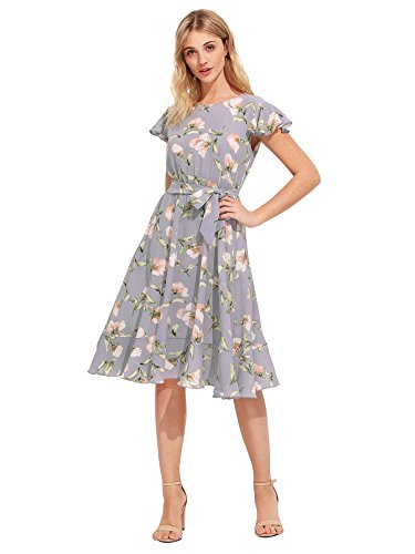 Sleeve Tie Waist Dress - Floerns Women's Floral Print Ruffle Tie Waist Summer Chiffon Dress Grey M