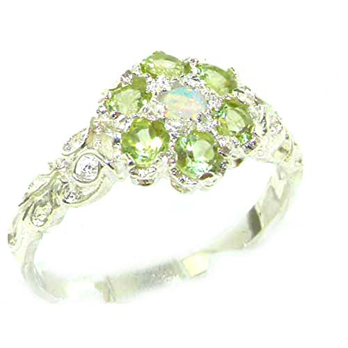925 Sterling Silver Natural Opal and Peridot Womens Cluster Ring - Size - Multi Cluster Ring Color Stone