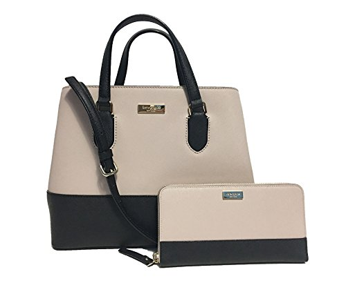 Kate Spade New York Laurel Way Leather Satchel Crossbody and Wallet Set (Almondine/Black) by Kate Spade New York