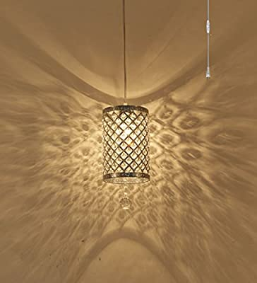Surpars House Plug in Pendant Light Silver Crystal Chandelier with 17' Cord and On/off Switch in Line