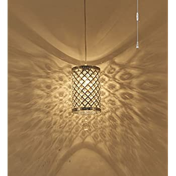 Surpars House Plug in Pendant Light Silver Crystal Chandelier with 17u0027 Cord and On/ & Asian Rice Paper Lantern Pendant Lamp Shade Kit with 15.5u0027 Plug-in ... azcodes.com