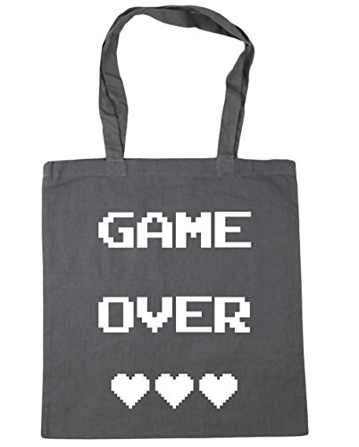 HippoWarehouse Game Over Einkaufstasche Fitnessstudio Strandtasche 42cm x38cm, 10 liter - Graphitgrau, One size