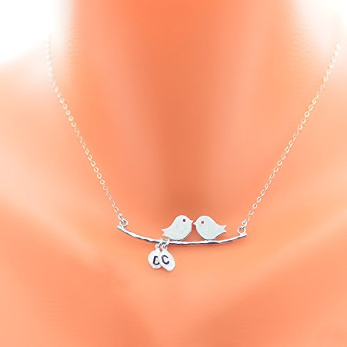 Bird Necklace with initials, Birds On Branch Necklace, Two Birds Necklace, Loving Necklace, Sterling Silver