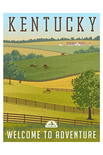 Scenic Kentucky Landscape Rolling Hills Horses Fences Stables Vintage Travel Mural Giant Poster 36x54 inch