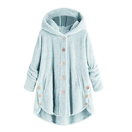 COPPEN Women Coat Button Fluffy Tail Tops Hooded Pullover Loose Sweater (Sky Blue, Small)