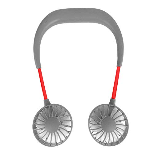 dzsntsmgs Usual Portable Hand Free Wearable Headphone Style USB Rechargeable Neckband Small Cool Fan Cooler - Grey ()