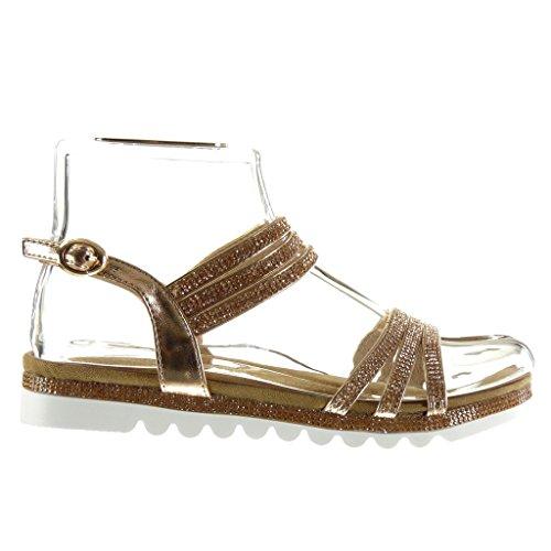 Angkorly - Chaussure Mode Sandale semelle basket femme lanière multi-bride strass diamant Talon plat 2.5 CM - Champagne