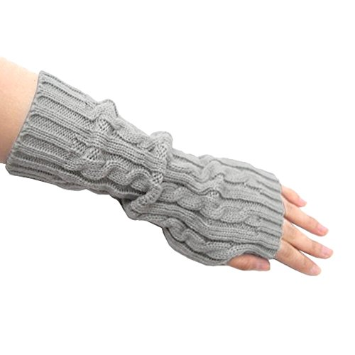 EUBUY Cable Knit Cotton Slouch Arm Warmer Braided Knitted Crochet Long Soft Arm Fingerless Winter Warmer Gloves (Light Grey)
