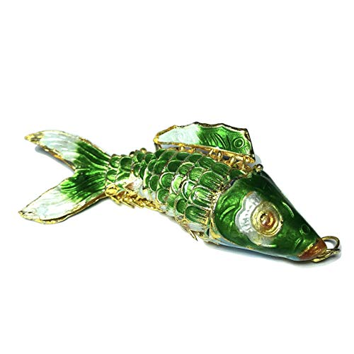 Cloisonne Fish - [ABCgems] Rare Antique Cloisonne Articulated Fish (Exquisite Color- Moves Like a Real Fish) 75mm Emerald Green Pendant for Beading & Jewelry Making
