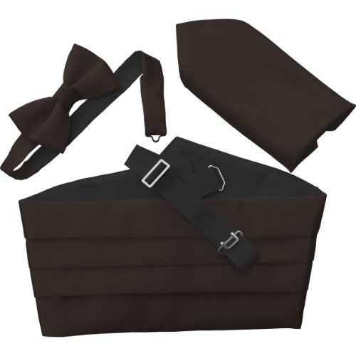 Great British Tie Club Men's Cummerbund Sets: Includes Bow Tie and Hanky/Pocket Squares (Chocolate Brown)