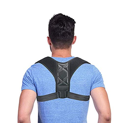 Hecmoks Posture Corrector Back Support Brace for Men and Women - Improves Posture, Prevents Slouching and Hunching, Reliefs Upper Back and Neck Pain - Adjustable and Comfortable with Underarm Pads