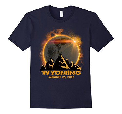 Mens wyoming Solar Eclipse Tshirt Large Navy