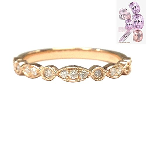 Pave Diamond Wedding Band Half Eternity Anniversary Ring 14K Rose Gold Art Deco Antique - Gold Half Eternity Diamond