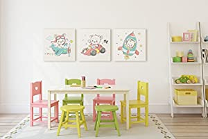 Emin Decor Cute Little Teddy Bear And His Friends Nursery Children Room Canvas Wall Art