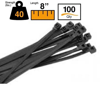 """f8f566684539 Image Unavailable. Image not available for. Color: BuyCableTies 8"""" Intermediate  Duty Indoor/Outdoor Cable ..."""