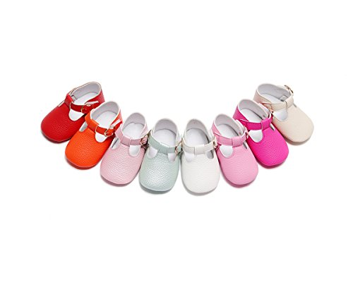 Image of HONGTEYA Baby Girls Boys T-Strap Moccasins - Newborn First Walker Mary Jane PU Soft Soled Sandals Shoes