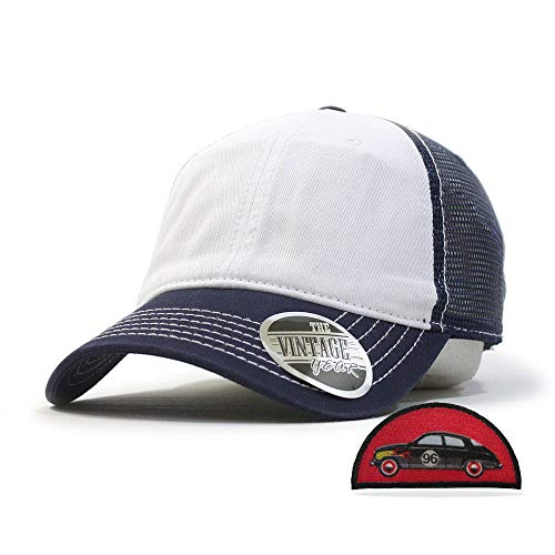 Vintage Year Washed Cotton Low Profile Mesh Adjustable Trucker Baseball Cap (Navy/White/Navy)