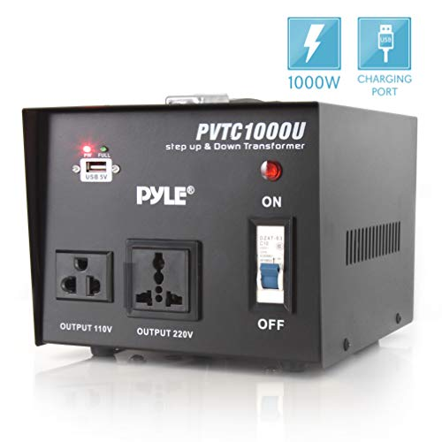 Pyle voltage converter Step Up and Down AC 110/220 Volts Transformer with USB Charging Port, 1000 Watt