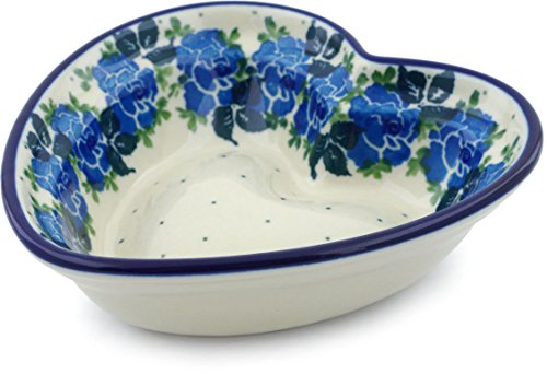 - Polish Pottery 5½-inch Heart Shaped Bowl made by Ceramika Artystyczna (Blue Garland Theme) + Certificate of Authenticity