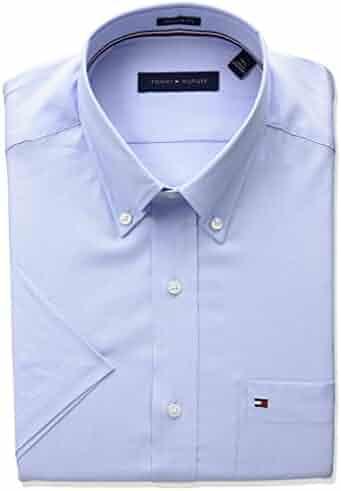 Tommy Hilfiger Men's Short Sleeve Regular Fit Solid Buttondown Collar Dress Shirt