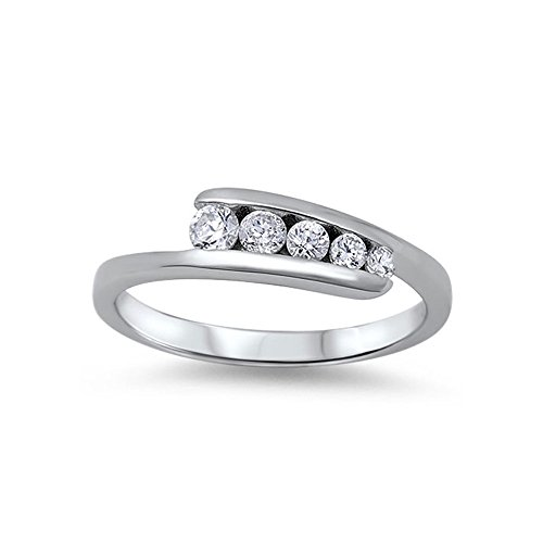 (.925 Sterling Silver Tension Set Rolling Cubic Zirconia Ring - Size 6)
