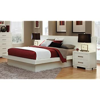 this item coaster jessica platform bed with rail seating and lights in white king - White King Bed Frame