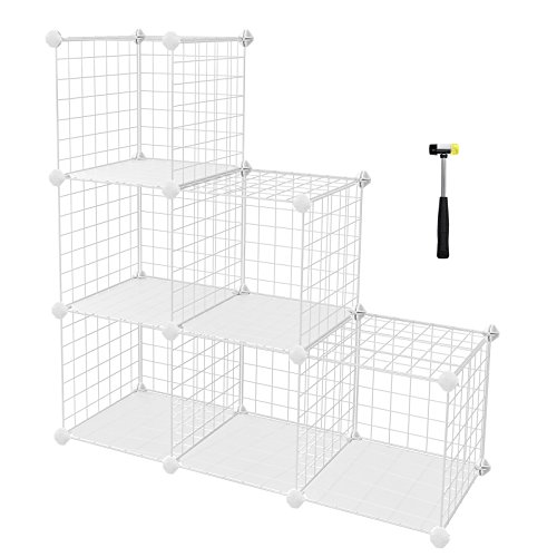 Shelving Mesh (SONGMICS 6-Cube Metal Wire Storage Organizer, DIY Closet Cabinet and Modular Shelving Grids, Wire Mesh Shelves and Rack, White, ULPI111W)