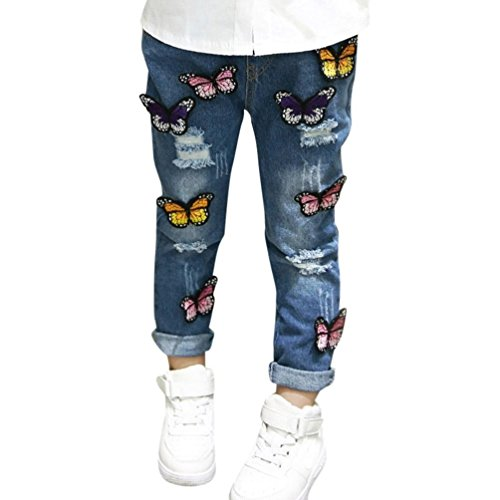 Dinlong Children Infant Kid Gilrs Jeans Denim Embroidered Butterfly Broken Hole Casual Pants Clothes Outfits (18-24 Month, Blue) by Dinlong