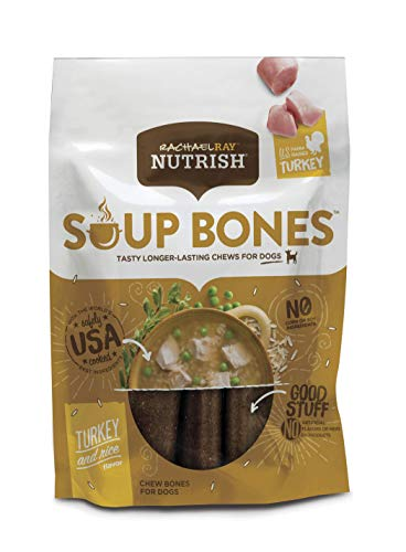 Rachael Ray Nutrish Soup Bones Dog Treats, Real Turkey & Rice Flavor, 6.3 Oz. Bag (Pack Of 8)