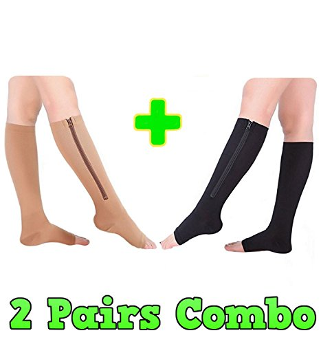 HealthyNees 2 Pairs Combo Zipper Compression Medical Grade Leg Calf Relief Swelling Circulation Support Socks (L/XL) (Leg Zipper)