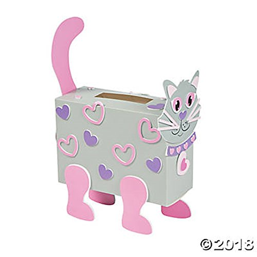 Valentine Classroom Sharing Cat Card Holder Box Craft Kit