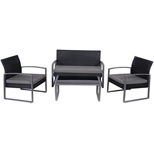 4 PCS Rattan Black Sofa Set Chair Table Outdoor Patio Garden Wicker Cushioned Comfortable Seat Pool Side Furniture Strong Steel Frame (Papasan Cusions)