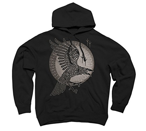 RAVEN Men's X-Large Black Graphic Pullover Hoodie - Design By Humans