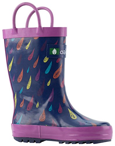 OAKI Kids Rain Boots with Easy-On Handles, Colorful Raindrops, 5T US Toddler
