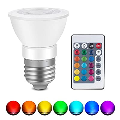 (Pack of 2) Mini LED Spotlight E27 3W RGB Light Bulb Christmas Decoration Lamp 16 Colors Changing 85V- 265V with IR Remote Controller Lampada Holiday Lighting Decorative Night Light