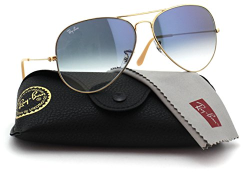 Ray-Ban RB3025 001/3F Unisex Aviator Sunglasses Gradient (Gold Frame / Blue Gradient Lens 001/3F, - Gradient Ban Ray Blue Gold