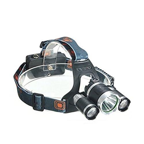 Tfxwerws Camping Sports en alliage d'aluminium T63LED lampe frontale rechargeable Phare (Noir)