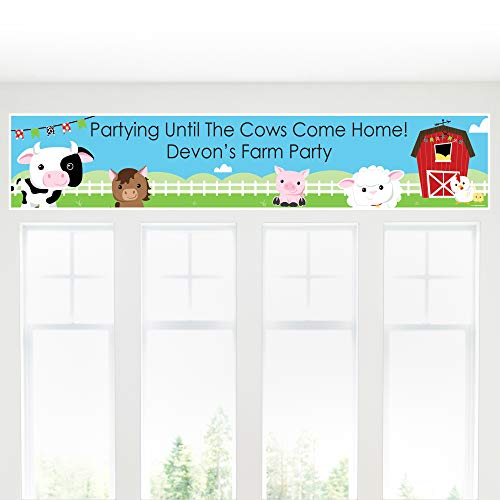 - Big Dot of Happiness Custom Farm Animals - Personalized Baby Shower or Birthday Party Decorations Party Banner
