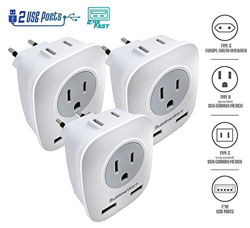 European Power Adapter (3 Pack) - w/ 2 USB Ports & 2 AC Outlets - USA to EU Outlet Plug - US to Europe Plug Adapter - Electrical Charger Travel Adapters for Europe - for Type F, E, C Charging (Best Way From Madrid To Barcelona)
