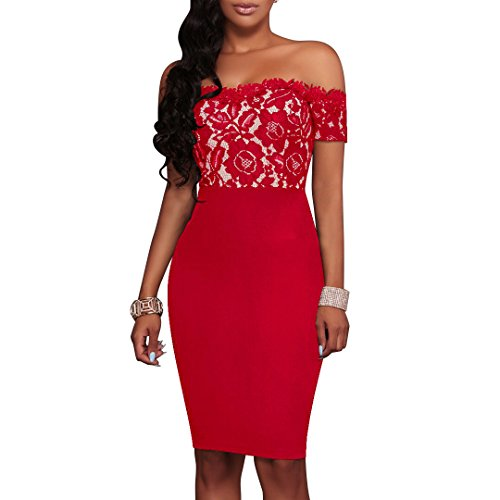 Charmore Women's Lace Top Off The Shoulder Bodycon Party Cocktail Dress (S, Red)
