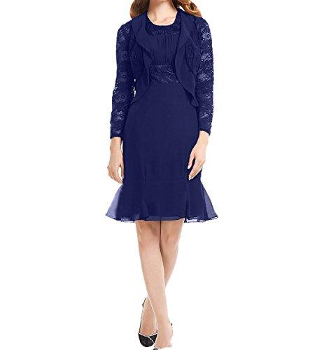 Damen mit Royal Etuikleider Langarm Jaket Ballkleider Elegant Blau Brautmutterkleider Abendkleider Partykleider Chiffon Charmant 8dSO8w