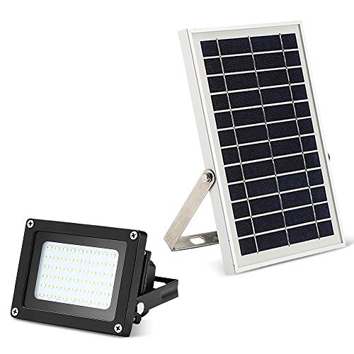 Solar Powered Flood Lights Outdoor, MYM Auto on Off 6W 54Leds 400Lumens Waterproof Solar Security Floodlight for Flag Pole,Parking lot,Garden,Garage,Pool,Pathway